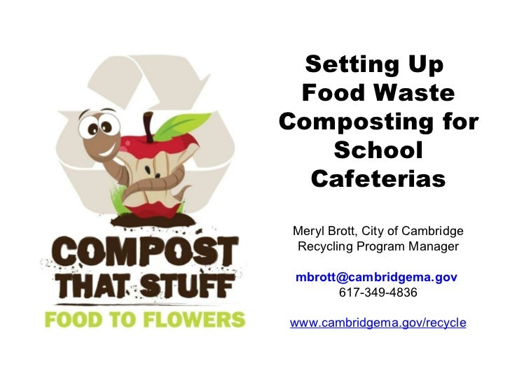 Setting Up  Food Waste Composting for School Cafeterias Meryl Brott, City of Cambridge Recycling Program Manager [email_ad...