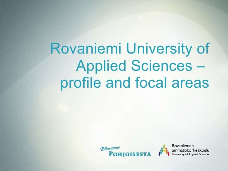 Rovaniemi University of Applied Sciences –  profile and focal areas