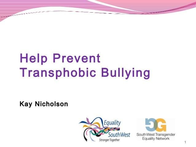 Schools - Help prevent transphobic bullying