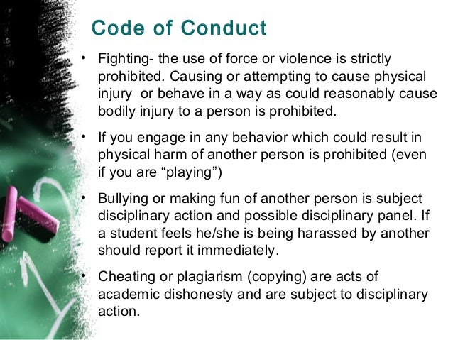 bullying school code of conduct 3 m:4062375_1 axf student code of conduct: for all students to be aware of the csod anti bullying, student wellbeing and code of conduct policy as set out by the dance school committee.