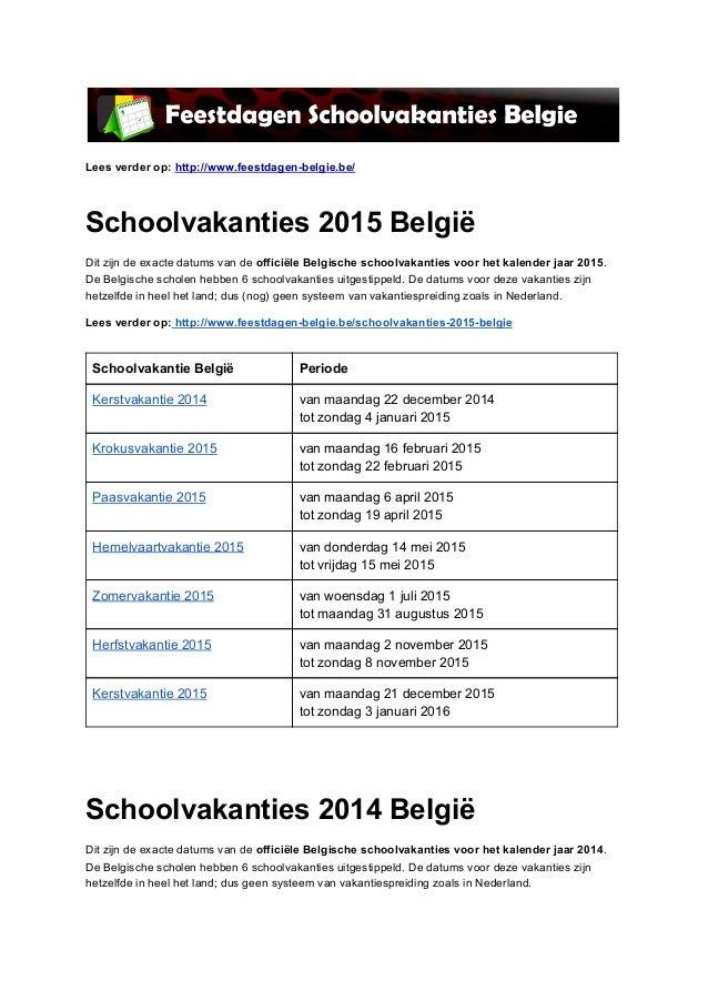 Schoolvakanties Belgie - – Ontdek de exacte datums