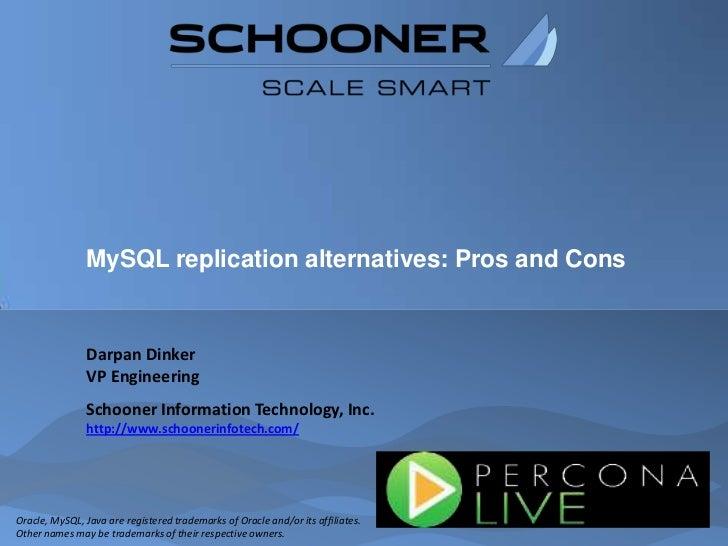 MySQL replication alternatives: Pros and Cons<br />Darpan Dinker<br />VP Engineering<br />Schooner Information Technology,...