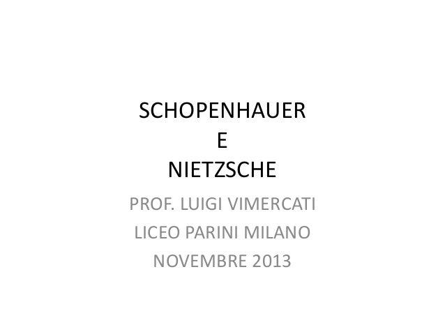 SCHOPENHAUER E NIETZSCHE PROF. LUIGI VIMERCATI LICEO PARINI MILANO NOVEMBRE 2013