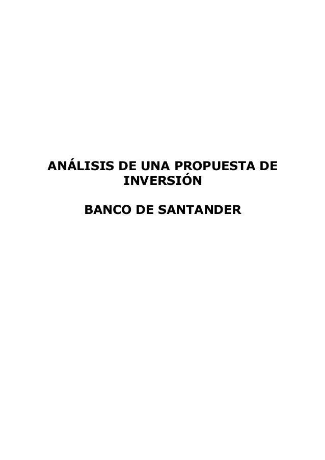 ANÁLISIS DE UNA PROPUESTA DE INVERSIÓN BANCO DE SANTANDER