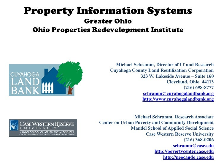 Property Information Systems              Greater Ohio Ohio Properties Redevelopment Institute                         Mic...