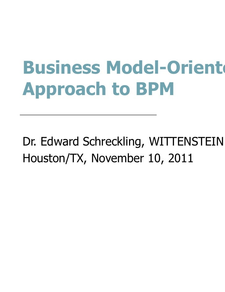 Business Model-Oriented Approach to Process Management