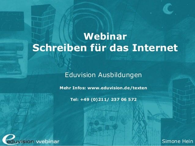 Gratis-Webinar Schreiben für das Internet  - Eduvision Ausbildungen