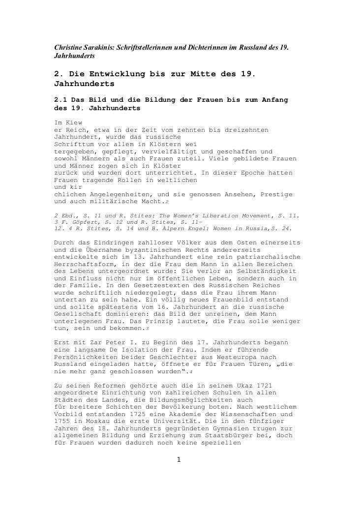 Christine Sarakinis: Schriftstellerinnen und Dichterinnen im Russland des 19.Jahrhunderts2. Die Entwicklung bis zur Mitte ...