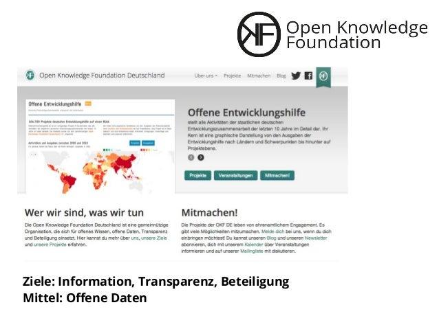 Ziele: Information, Transparenz, Beteiligung Mittel: Offene Daten