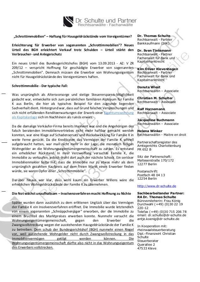 """""""Schrottimmobilien"""" – Haftung für Hausgeldrückstände vom Voreigentümer? Erleichterung für Erwerber von sogenannten """"Schrot..."""