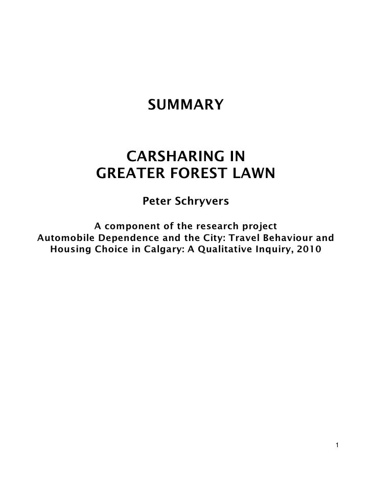 SUMMARY              CARSHARING IN           GREATER FOREST LAWN                   Peter Schryvers          A component of...