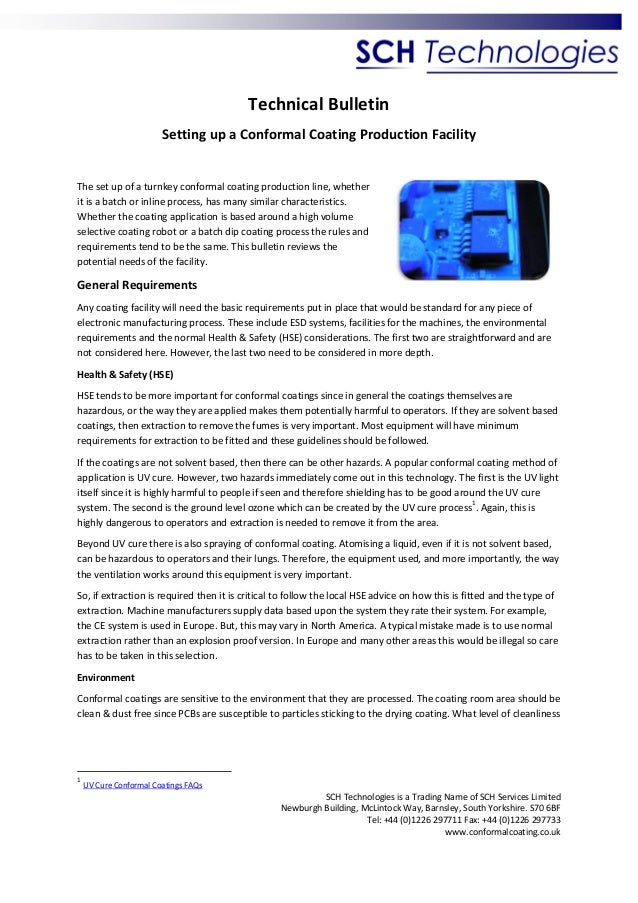 Technical Bulletin Setting up a Conformal Coating Production Facility  The set up of a turnkey conformal coating productio...