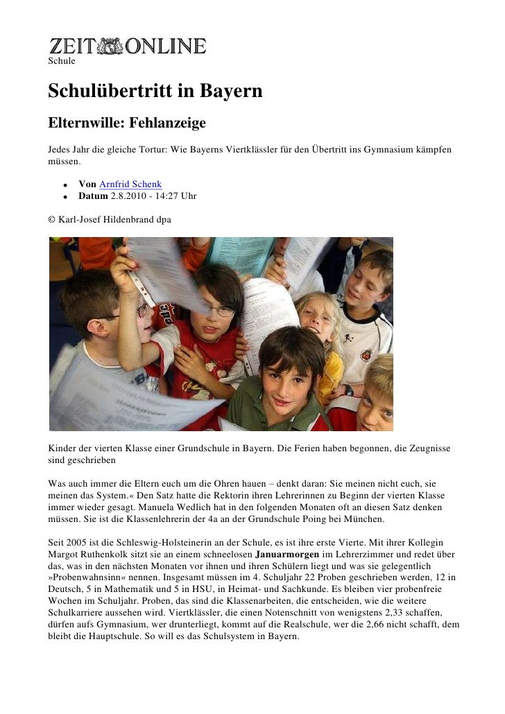 Schule<br />Formularbeginn<br />Formularende<br />Schulübertritt in Bayern<br />Elternwille: Fehlanzeige<br />Jedes Jahr d...