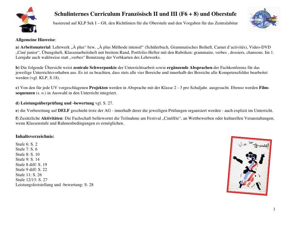 Schulinternes Curriculum Französisch II und III (F6 + 8) und Oberstufe                     basierend auf KLP Sek I – G8, d...