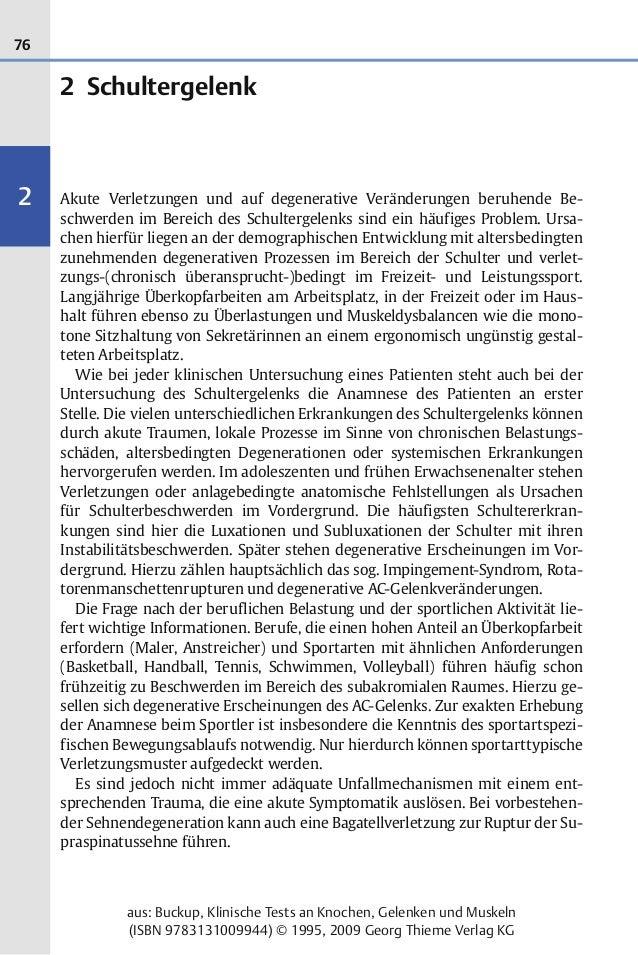 76 2 aus: Buckup, Klinische Tests an Knochen, Gelenken und Muskeln (ISBN 9783131009944) © 1995, 2009 Georg Thieme Verlag K...