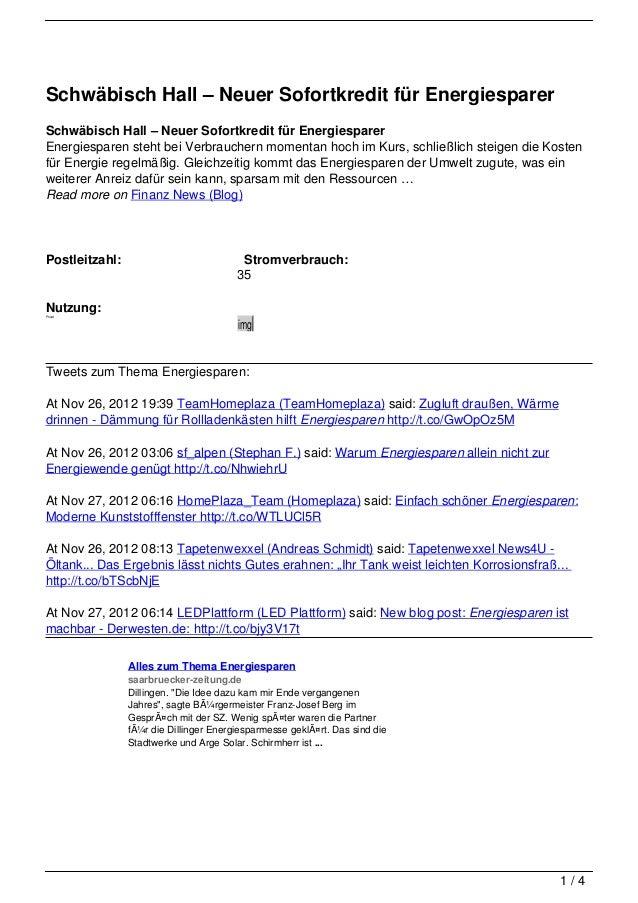 Schwäbisch Hall – Neuer Sofortkredit für EnergiesparerSchwäbisch Hall – Neuer Sofortkredit für EnergiesparerEnergiesparen ...