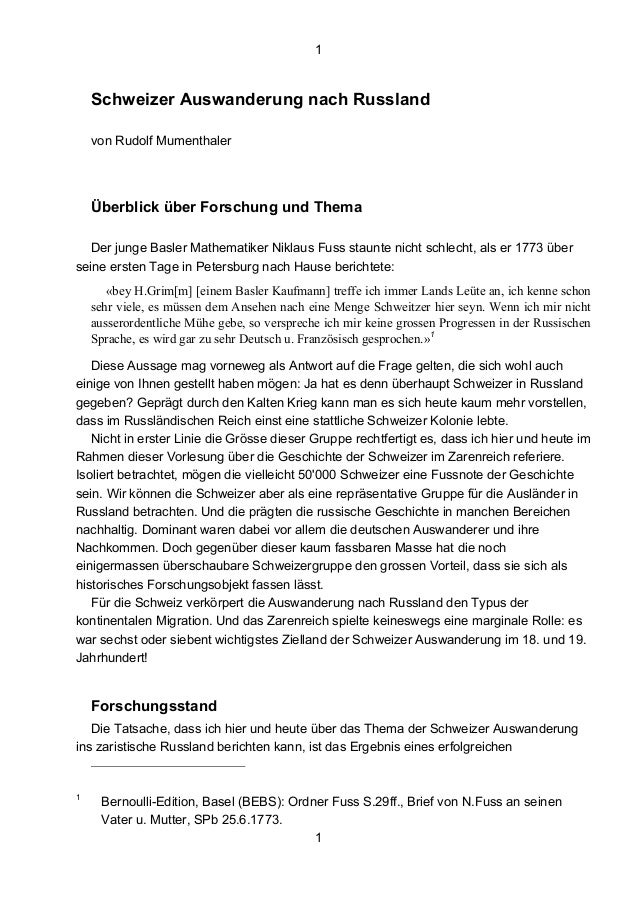 1 1 Schweizer Auswanderung nach Russland von Rudolf Mumenthaler Überblick über Forschung und Thema Der junge Basler Mathem...