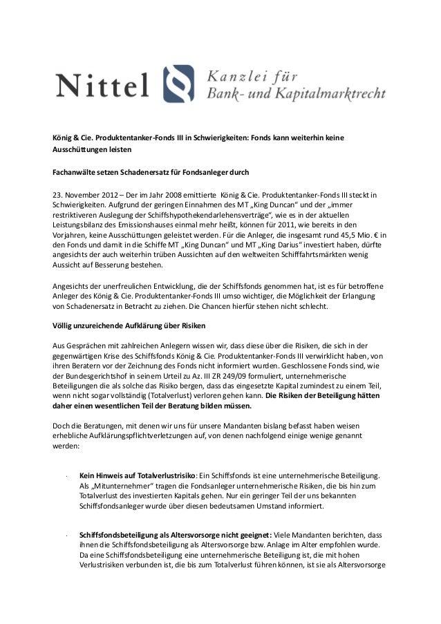 König & Cie. Produktentanker-Fonds III in Schwierigkeiten: Fonds kann weiterhin keineAusschüttungen leistenFachanwälte set...