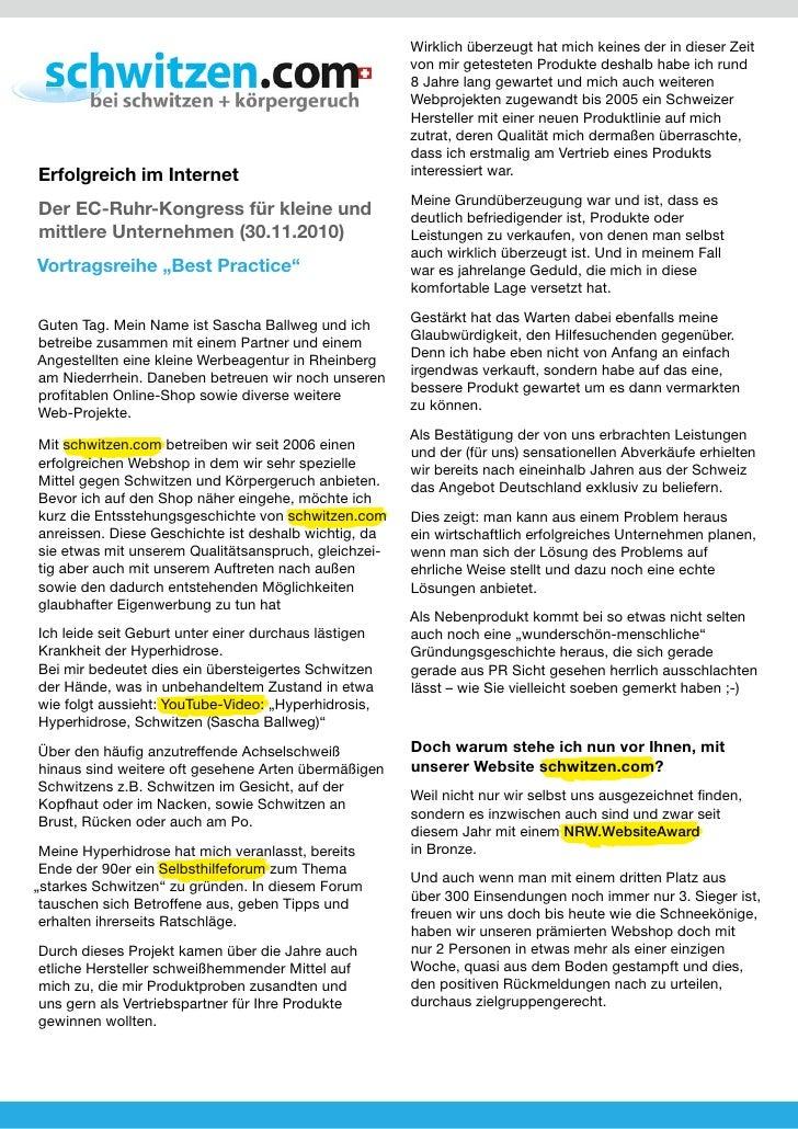 schwitzen.com | Best Practice Vortrag 2010 (Dortmunder-U)