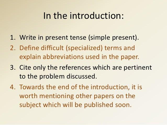 Scientific writing tense