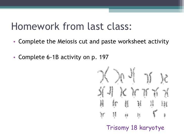 Homework from last class: <ul><li>Complete the Meiosis cut and paste worksheet activity </li></ul><ul><li>Complete 6-1B ac...