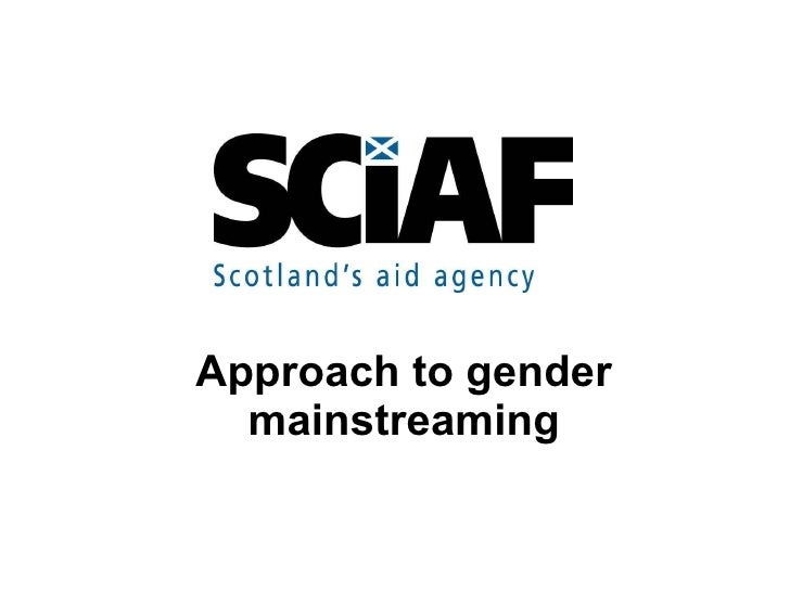 Approach to gender mainstreaming