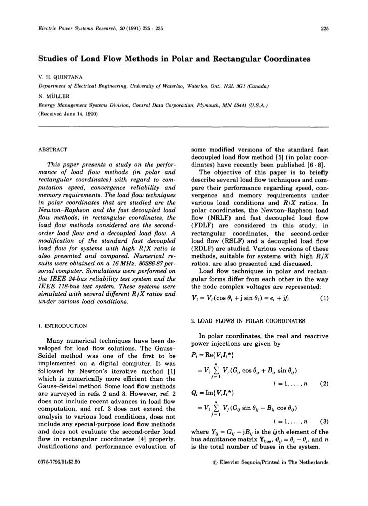 Electric Power Systems Research, 20 (1991) 225 - 235                                                            225Studies...