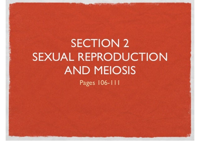 SECTION 2SEXUAL REPRODUCTION     AND MEIOSIS      Pages 106-111