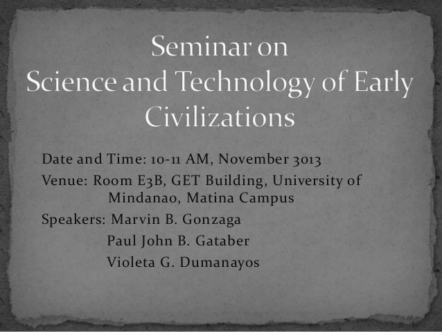 Date and Time: 10-11 AM, November 3013 Venue: Room E3B, GET Building, University of Mindanao, Matina Campus Speakers: Marv...