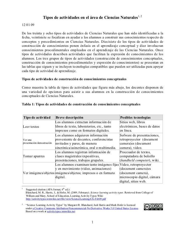 Tipos de actividades en el área de Ciencias Naturales1, 212 01 09De los treinta y ocho tipos de actividades de Ciencias Na...