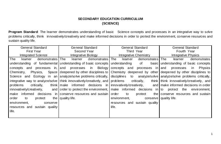 SECONDARY EDUCATION CURRICULUM                                                               (SCIENCE)Program Standard: Th...