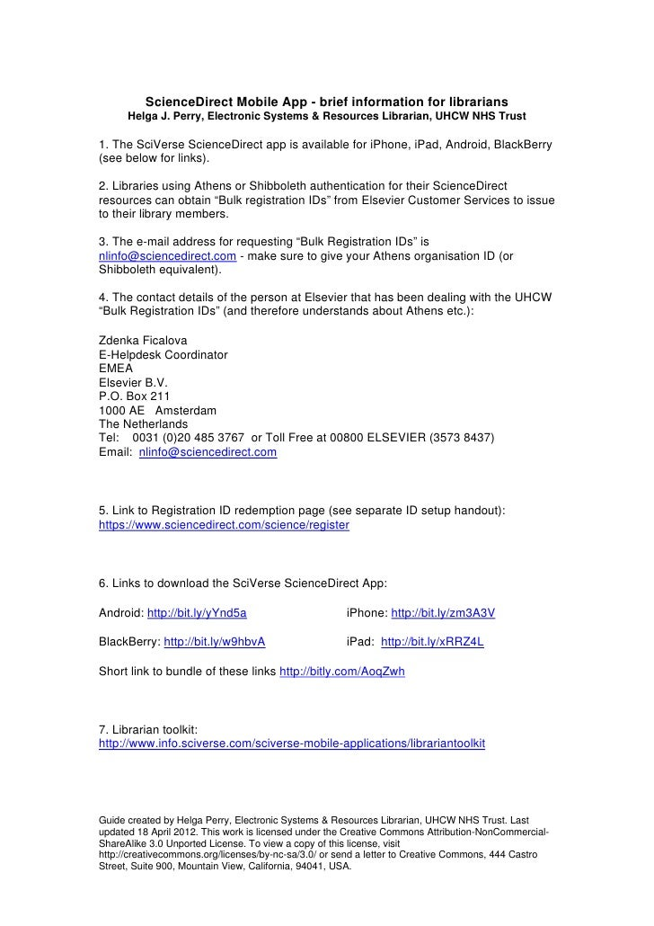 Science direct app librarian info