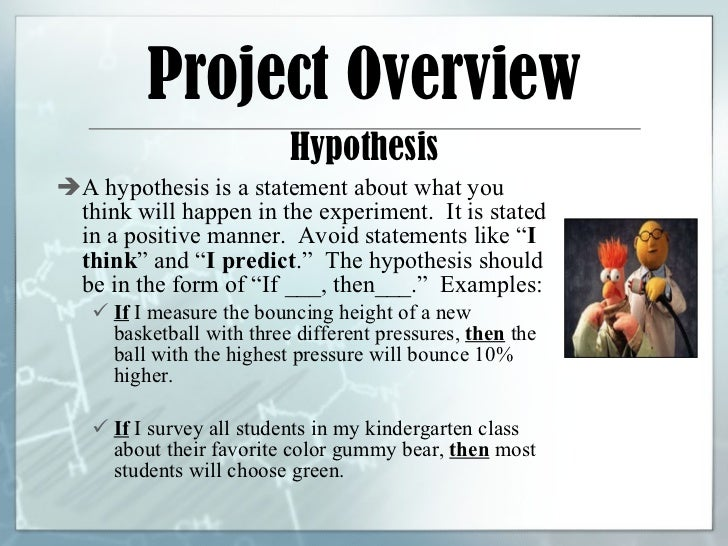 how to write a hypothesis for science project