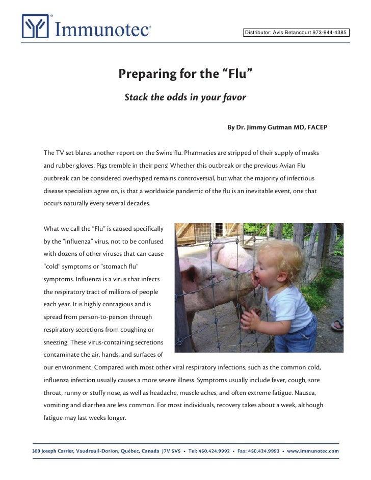 "Distributor: Avis Betancourt 973-944-4385                                 Preparing for the ""Flu""                         ..."