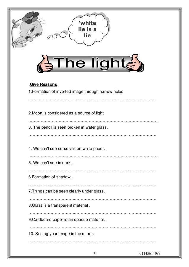 Printable Light Worksheets : Worksheet properties of light hunterhq free