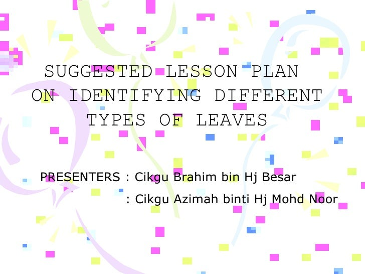 SUGGESTED LESSON PLAN  ON IDENTIFYING DIFFERENT TYPES OF LEAVES PRESENTERS : Cikgu Brahim bin Hj Besar : Cikgu Azimah bint...