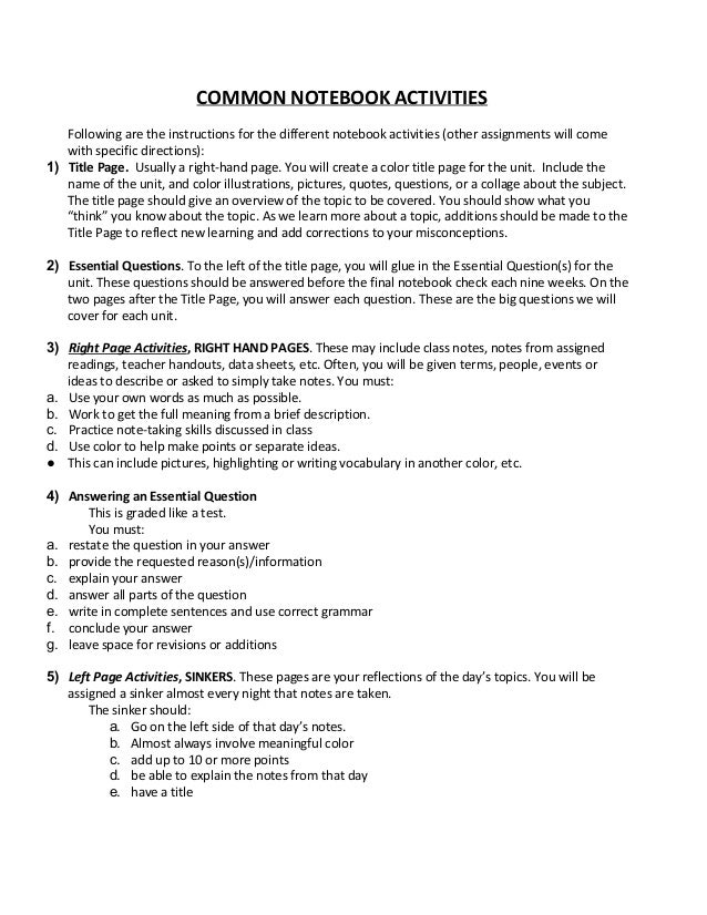 COMMON NOTEBOOK ACTIVITIES Following are the instructions for the different notebook activities (other assignments will co...