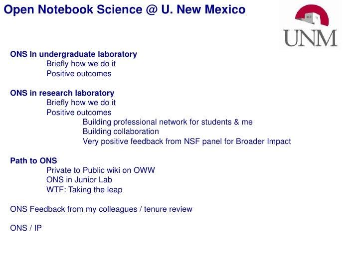 Science Online2010 Open Notebook Science