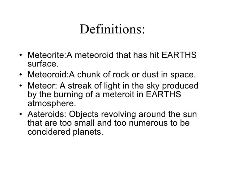 Science Project Asteroids Meteroids And Meteors