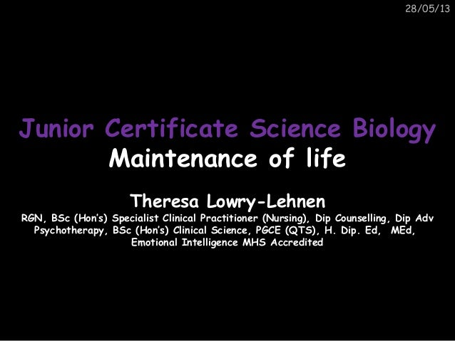 Junior Cycle Science. Biology. Maintenance of Life