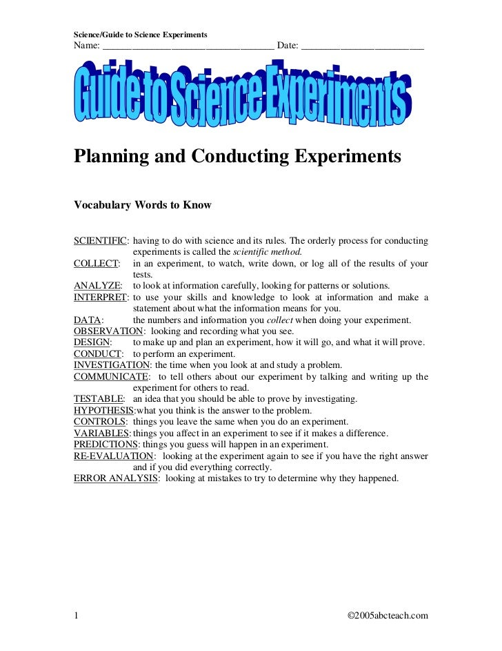 Science/Guide to Science ExperimentsName: ___________________________________ Date: _________________________Planning and ...