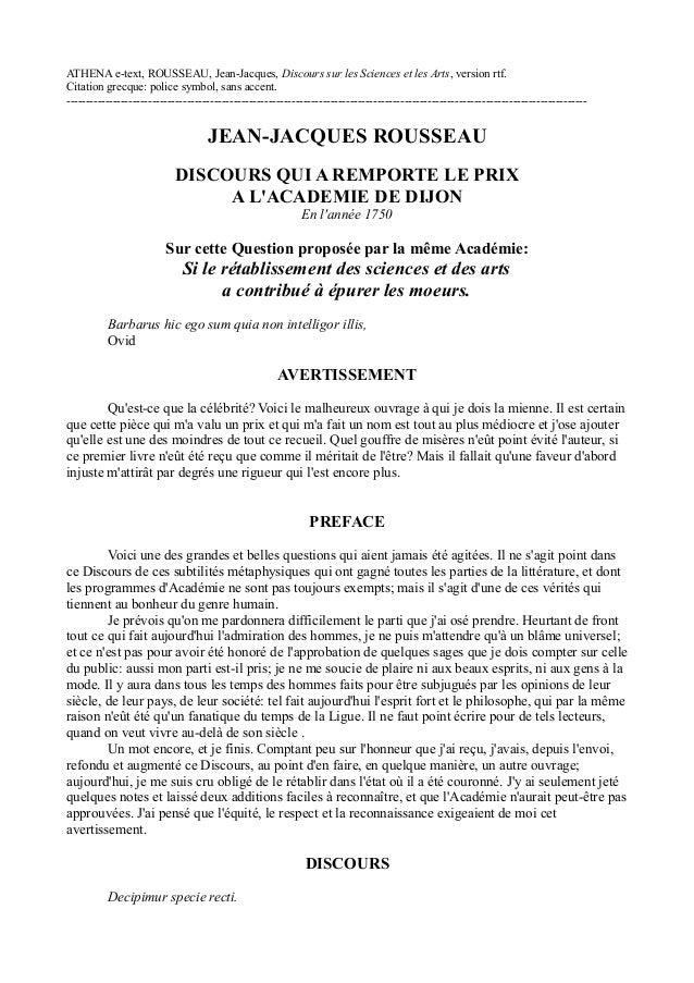 ATHENA e-text, ROUSSEAU, Jean-Jacques, Discours sur les Sciences et les Arts, version rtf. Citation grecque: police symbol...