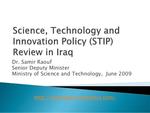 Science technology and innovation policy review iraq