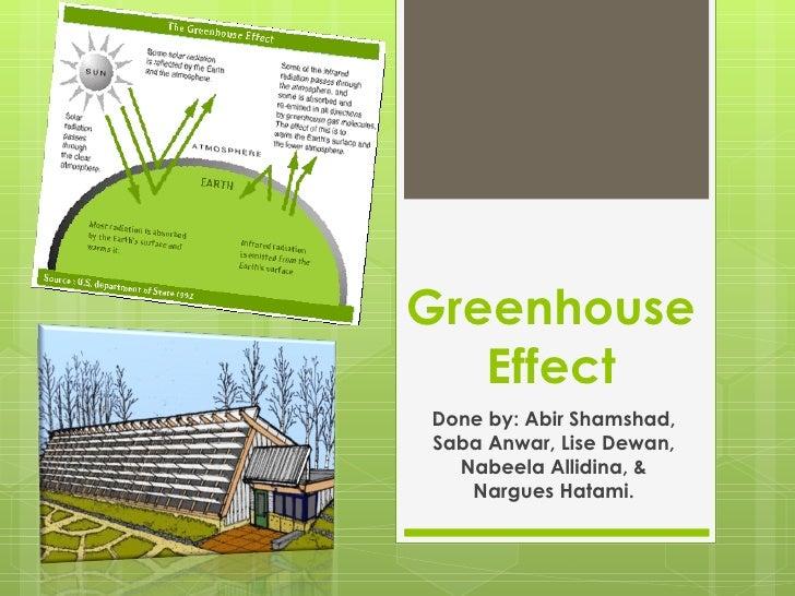Greenhouse Effect Done by: Abir Shamshad, Saba Anwar, Lise Dewan, Nabeela Allidina, & Nargues Hatami.