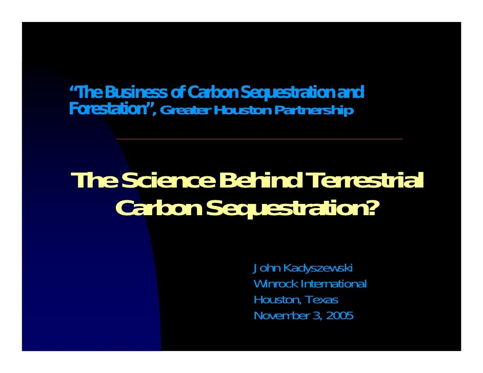 """""""The Business of Carbon Sequestration and Forestation"""", Greater Houston Partnership    The Science Behind Terrestrial    C..."""