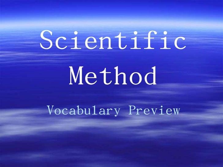 Scientific  MethodVocabulary Preview