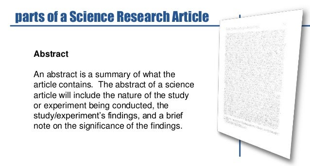 Science abstract articles