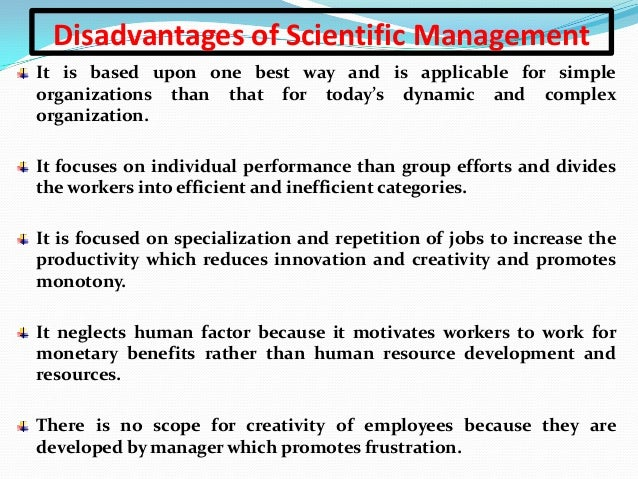 """an analysis of the basic principles of scientific management principles of work organizations Taylor's """"scientific management principles"""": taylor's work titled """"the principles of scientific performance/job analysis, work study and work design in."""