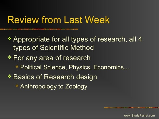 Review from Last Week  Appropriate for all types of research, all 4 types of Scientific Method  For any area of research...