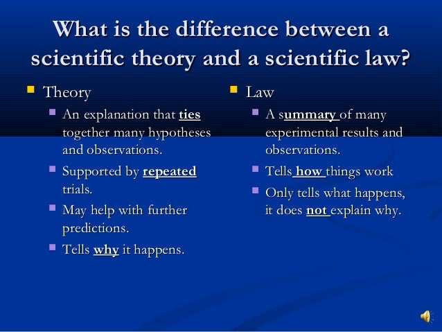 Ways to Explain the Difference Between Theory, Law